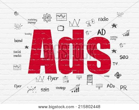 Marketing concept: Painted red text Ads on White Brick wall background with  Hand Drawn Marketing Icons