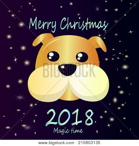 2018 is the year of the dog according to the eastern calendar. Beautiful, cute greeting card - happy christmas.