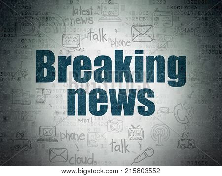 News concept: Painted blue text Breaking News on Digital Data Paper background with  Scheme Of Hand Drawn News Icons