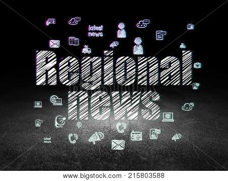 News concept: Glowing text Regional News,  Hand Drawn News Icons in grunge dark room with Dirty Floor, black background