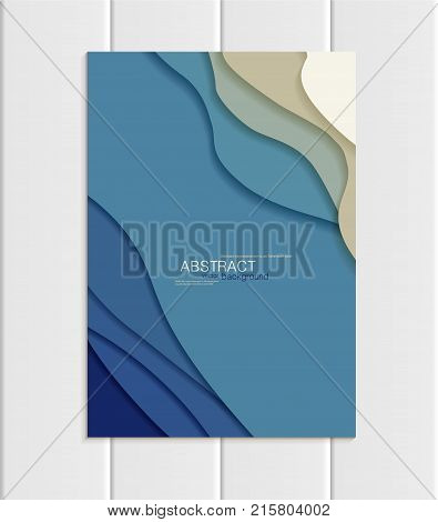 Stock vector brochure in abstract style. Design business templates with round, uneven blue shapes on white backgrounds for printed materials, elements, web sites, cards, covers, wallpaper