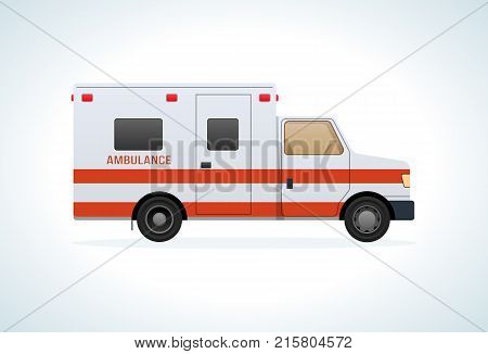 Modern car of medical ambulance service. Emergency vehicle. Assistance, treatment, health care, medical care, rescue vehicle. Vector illustration isolated.