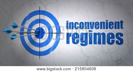 Success political concept: arrows hitting the center of target, Blue Inconvenient Regimes on wall background, 3D rendering