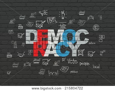 Politics concept: Painted multicolor text Democracy on Black Brick wall background with  Hand Drawn Politics Icons