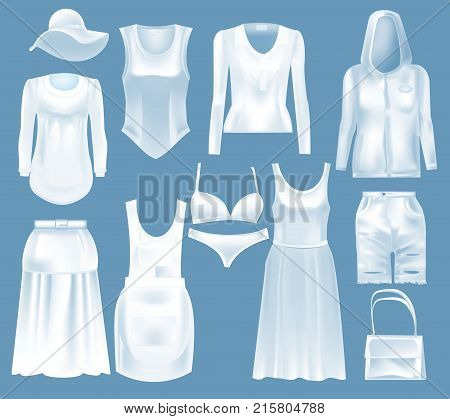 Set mockup women s clothes: blouse, hat, jacket, t-shirt, sweatshirt, underwear, long skirt, shorts, bag, dress. Template fashion clothes cap mockups. Front view in white color Vector illustration