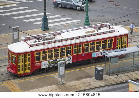 NEW ORLEANS - MAY. 29, 2017: RTA Streetcar Canal Line Route 47 or Route 48 on Canal Street in downtown New Orleans, Louisiana, USA.