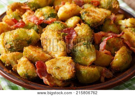 Fried Brussels Sprouts In Breadcrumbs With Bacon Macro. Horizontal