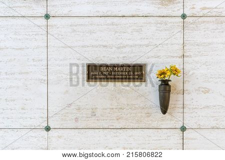 October 25, 2017 - Los Angeles, California, USA: Singer, Dean Martin's crypt at Westwood Memorial Park in Los Angeles, California.