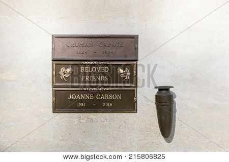October 25, 2017 - Los Angeles, California, USA: Novelist, Truman Capote crypt at Westwood Memorial Park in Los Angeles, California.  Truman died on August 25, 1984