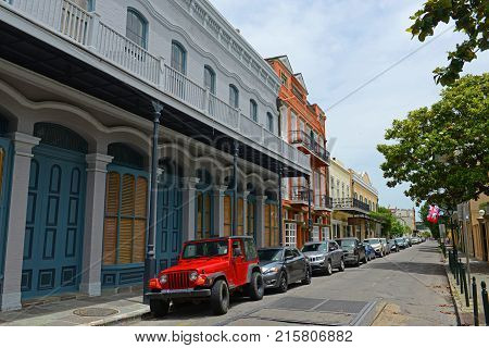 NEW ORLEANS - MAY. 29, 2017: Historic Buildings on Ursulines Avenue between Chartres Street and Royal Street in French Quarter in New Orleans, Louisiana, USA.