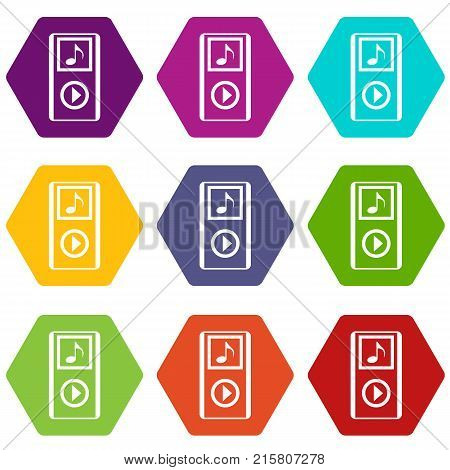 Mini MP3 portable player icon set many color hexahedron isolated on white vector illustration
