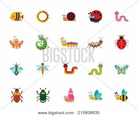 Funny insects icon set. Can be used for topics like invertebrates, hexapod , pests, bug