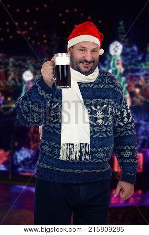 Beer Lover In Santa Claus Hat
