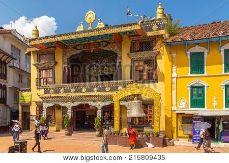 Colorful Houses Inhabited By The Tibetan Community In The Square At Boudanath.
