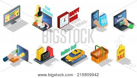 Isometric ecommerce elements collection with online purchase payment taxi free delivery discounts shopping bags basket price tag isolated vector illustration