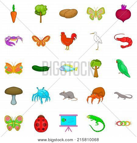 Natural area icons set. Cartoon set of 25 natural area vector icons for web isolated on white background