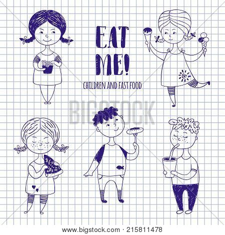 Boys and girls with food on notebook paper. Fat funny kids drawn with a pen or stylus. Sausage, ice cream, lemonade and other fast food.