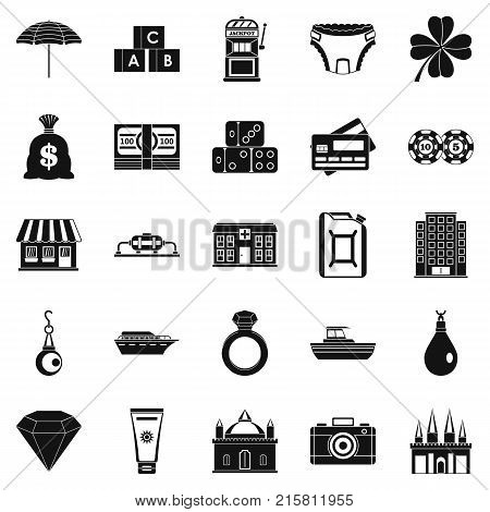 Richness icons set. Simple set of 25 richness vector icons for web isolated on white background
