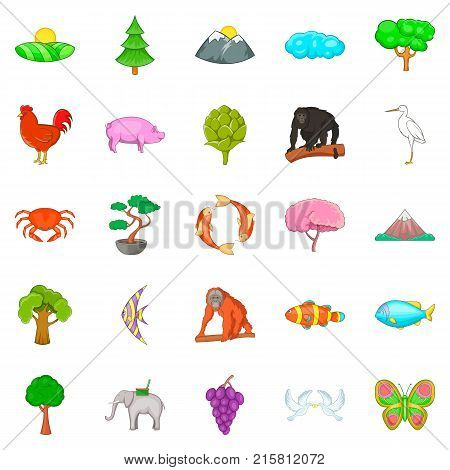 Natural diversity icons set. Cartoon set of 25 natural diversity vector icons for web isolated on white background