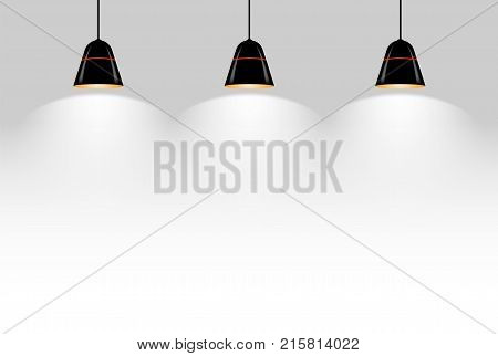 Three black ceiling lamps vector illustration ESP