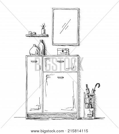 Furniture in the hallway. Chest of drawers umbrella stand mirror and decoration. Vector illustration in sketch style.