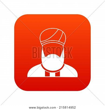 Muslim preacher icon digital red for any design isolated on white vector illustration