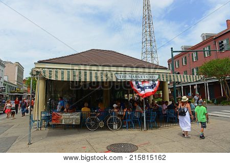 NEW ORLEANS - MAY. 29, 2017: The Market Cafe aka Cafe du Monde on Decatur Street next to Jackson Square in French Quarter in New Orleans, Louisiana, USA.