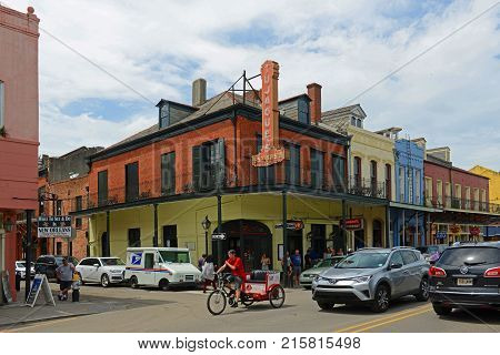 NEW ORLEANS - MAY. 29, 2017: Historic Buildings at the corner of Decatur Street and Madison Street in French Quarter in New Orleans, Louisiana, USA.