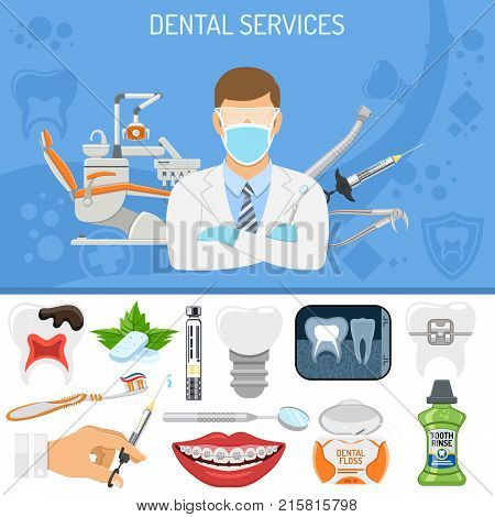 Dental Services banner and infographics with Oral Hygiene and Dental Clinic. Icons in Flat Style Doctor, Dentist Chair, Tooth and Braces. vector illustration
