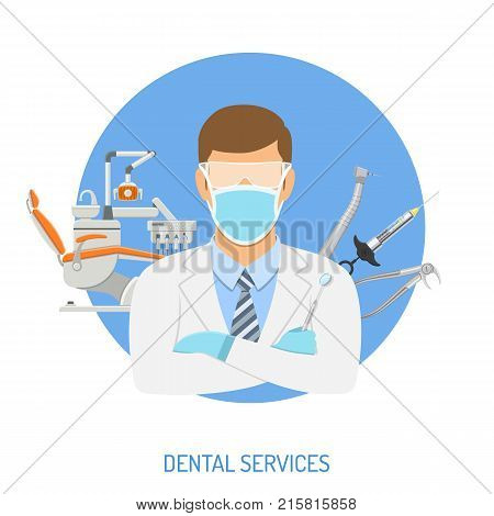 Dental Clinic Concept with flat icons dentist chair, dentist doctor, forceps, cartridge syringe and dental tools. isolated vector illustration