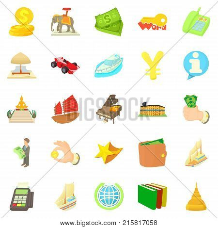 Dismal science icons set. Cartoon set of 25 dismal science vector icons for web isolated on white background