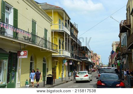 NEW ORLEANS - MAY. 29, 2017: Historic Buildings on Toulouse Street between Royal Street and Chartres Street in French Quarter in New Orleans, Louisiana, USA.