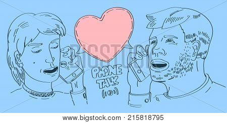lineart minimalistic style illustration with young couple talking mobile phone