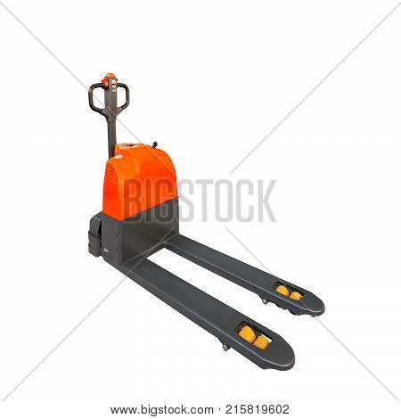 Hand and electric pallet truck isolated on white