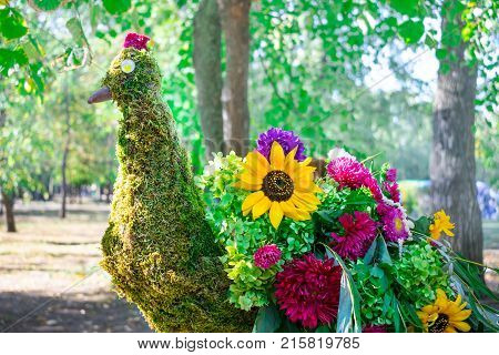 Beautiful peacock bird made of different bright flowers and green leaves. The arrangement of various flowers (sunflower chrysanthemum asters) to form a peacock. The floral decorating
