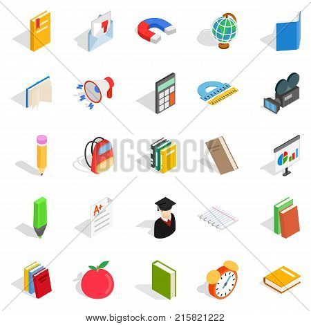 Tract icons set. Isometric set of 25 tract vector icons for web isolated on white background