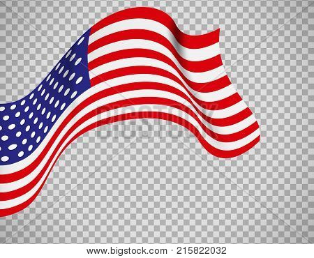 USA flag icon on transparent background. Vector illustration