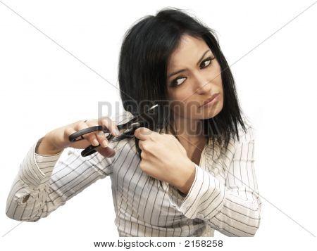 Woman Cuting Her Hair