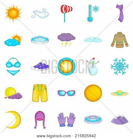 Mountain climate icons set. Cartoon set of 25 mountain climate vector icons for web isolated on white background