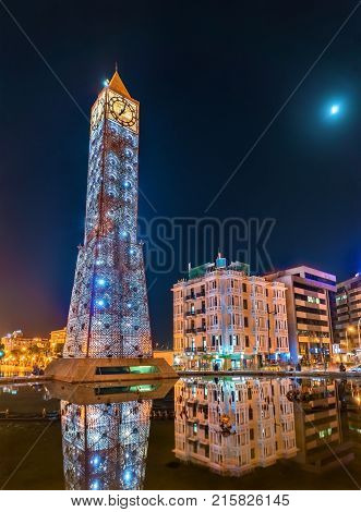 Clock Tower on Square of 11 January 2011 in Tunis, the capital of Tunisia. North Africa