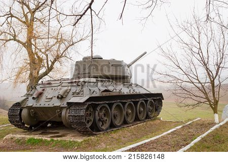 Spring day. In the frame a tank a war a victory. Village. Horizontal frame. Photo taken in Ukraine Kiev