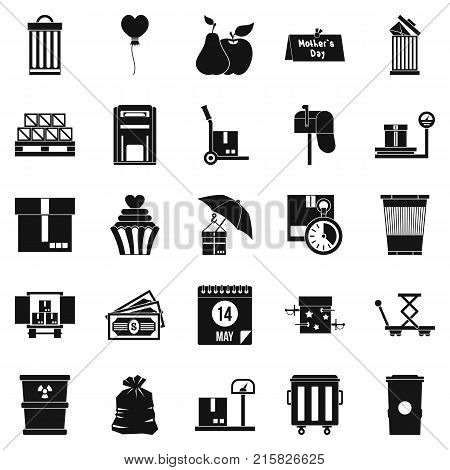Locker icons set. Simple set of 25 locker vector icons for web isolated on white background
