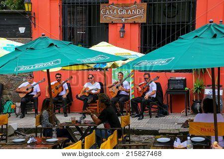 Colonia, Uruguay - December 8: Street Cafe On December 8, 2014 In Colonia Del Sacramento, Uruguay. C