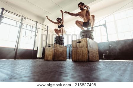 Fitness Couple Doing A Box Squat At The Gym.