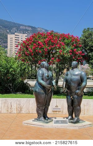 Monte Carlo, Monaco - July 11: Adam And Eve Statues By Fernando Botero On July 11, 2015 In Monte Car