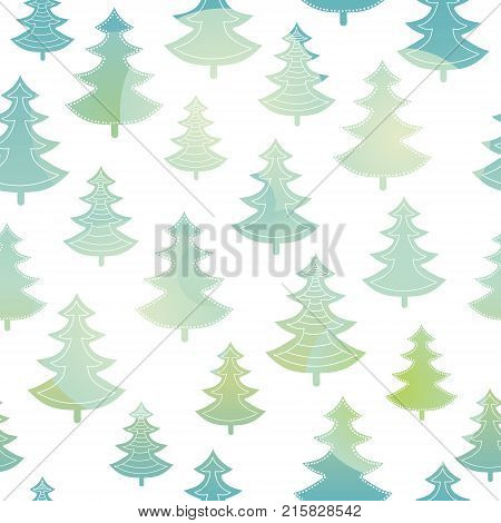 Vector green and blue christmas trees forest holiday seamless pattern. Great for winter holiday fabric, wallpaper, packaging, giftwrap. Surface pattern design.