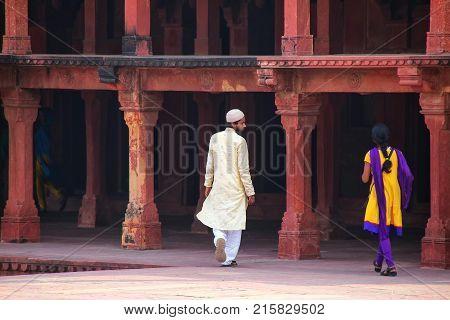 Fatehpur Sikri, India-november 9: Unidentified People Walk In Fatehpur Sikri Complex On November 9,