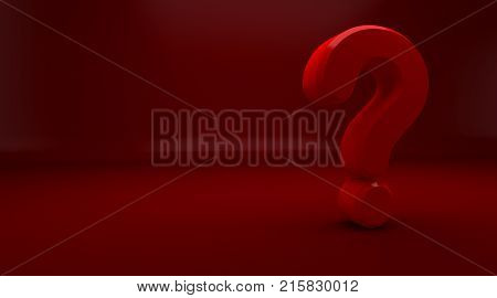 3D rendering of red Question Mark on red Background. Exclamation and question mark