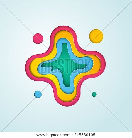 Abstract cross with layered color sheets template for anywhere business. 3D paper cut shapes on light background. Material design.