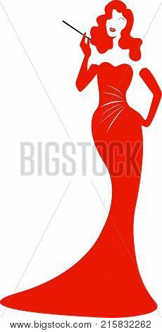 Diva Hollywood silhouette, Beautiful retro fashion red woman, vector isolated